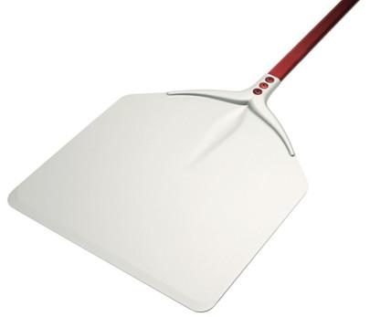 Contacto Pizzaschaufel, rechteckig, 32 x 33 cm, 120 cm Stiel, stabile Qualität, eloxiertes Aluminium