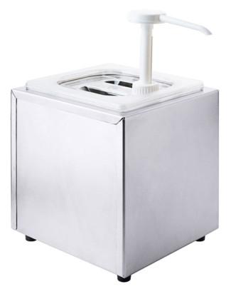 Contacto Saucendispenser mit Pumpe, mit GN1/6 Behälter, 20 x 18,5 x H21,5 cm, Edelstahl/Kunststoff, 10cm tief, m. Deckel, Portionsgröße 30 ml