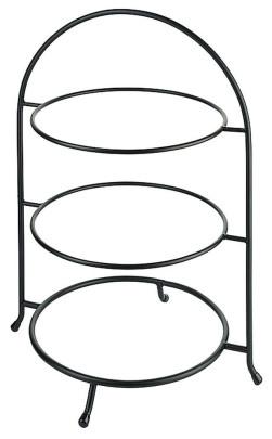 Contacto Telleretagere, schwarz für Teller 27-30 cm, 11'', dreistufig, Stahldraht, schwere Ausführung