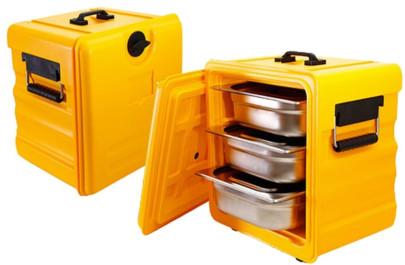 Contacto Thermobox GN 1/2 Frontlader aus gelbem Polypropylen, isoliert, mit Griff an der Oberseite aus bruchfestem Polyamid, Stecktür 1/2