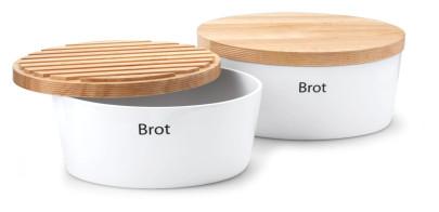 Continenta Brottopf oval mit Holzdeckel, gefräste Kanten, Rückseite als Schneidebrett nutzbar, Brotkasten mit Belüftung, aus 3 Größen wählbar