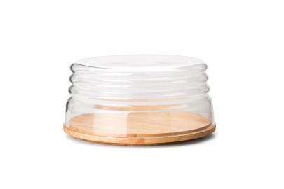 Continenta Käseglocke/Schüssel, 2-tlg. aus Gummibaumholz und mundgeblasenem Glas, Ø 26,5 x 13 cm