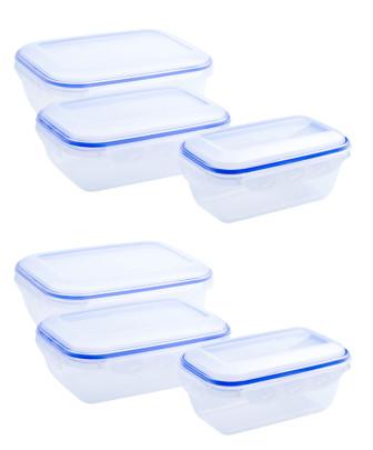 culinario 6er Set Frischhaltedosen 2 x 800 ml, 2 x 1,3 und 2 x 2,5 Liter, ineinander stapelbar, transparent Rechteckig