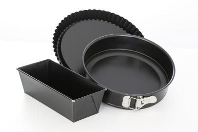 culinario Backformen 3er Set, Springform 26cm, Pieform/Obstkuchenform 28cm und Kastenform/Brotbackform 25 cm, Made in Germany