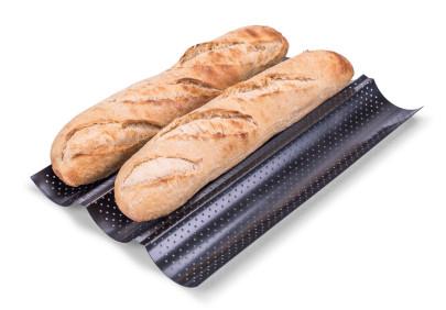 culinario Baguette Backblech aus Metall, 38 x 24 x 2 cm, perforiert, Antihaft-Beschichtung, Profi-Qualität