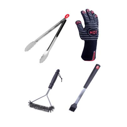 culinario BBQ-Spar-Set, 4-teilig, Grillzange 34 cm, Grillhandschuh, Grillpinsel 39 cm und Grillbürste 28 x 16 cm Grillzange, Handschuh, Bürste und Pinsel
