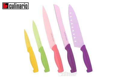 culinario Mukizu Küchenmesser Set 5-teilig, bunt, scharfes Chefmesser, Schälmesser, Fleischmesser, Allzweckmesser, Brotmesser