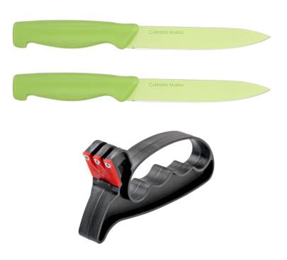 culinario Mukizu Küchenmesser Set mit Klingenschleifer, Allzweckmesser inkl. Fixschliff, grün, Universalmesser für Fisch und Fleisch, Obst und Gemüse