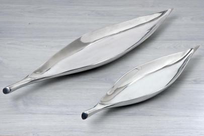 Dekoschale, Dekoschüssel in Blatt Form, Blattschale in silber aus Aluminium, 1 Stück, ca. 60 cm x 13 cm x 5 cm 600