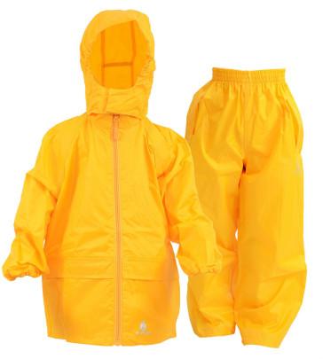 DryKids Wasserdichtes Regenanzug-Set für Kinder von 9 bis 10 Jahre, Regenjacke und Überhose, verschweißte Nähe, reflektierende Regenkleidung, gelb