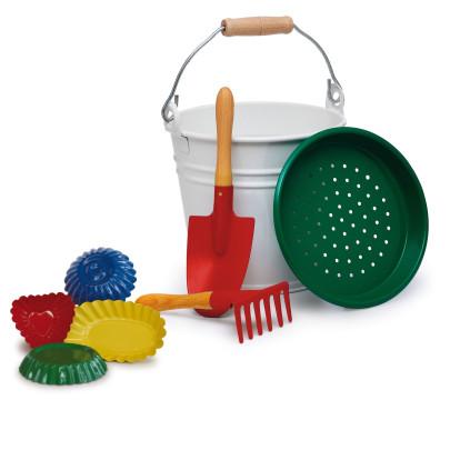 Erzi Sandspielzeug Set, 8-teilig aus Metall, farbig sortiert