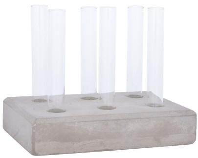 Esschert Design Ablegerset aus Beton und Glas, 15,3 x 10,2 x 11,9 cm