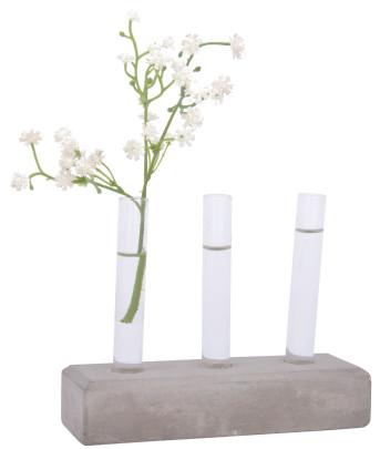 Esschert Design Ablegerset aus Beton und Glas, 15,3 x 5,2 x 11,9 cm