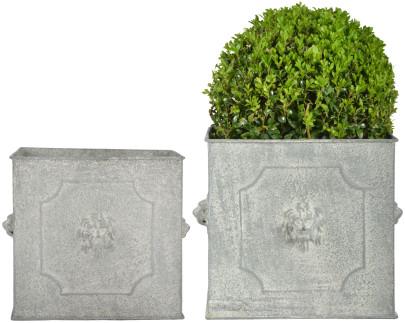 Esschert Design AM Löwe Blumentopf 2er Set, quadratisch, groß 24 cm / klein 20 cm, Aged Metall, antikes Design