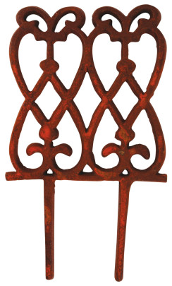 Esschert Design Beetzaun, Zierzaun, hoch, aus rötlichem Gusseisen, ca. 15 cm x 28 cm Anzahl: 1 Stück