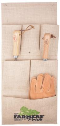 Esschert Design Farmers' Pride Wandtasche aus Jute und PE,30,5 x 3,5 x 69,0 cm