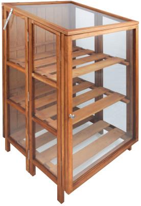 Esschert Design FSC Beetkasten, Gewächshaus aus Hartholz in braun, ca. 60 cm x 60 cm x 125 cm hoch