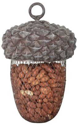 Esschert Design Futterstelle Eichel aus Polyresin und Metall, Ø 14 x 22 cm, hängend