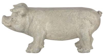 """Esschert Design Gartenbank """"Schwein"""", 77 x 24 x 37 cm, aus Stein, Sitzbank, Gartenhocker im Schweine-Motiv mit stabilem Stand, belastbar bis 100 kg"""