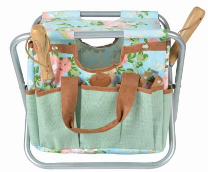 *NEU*: Gartenhocker mit Gerätetasche aus Jute, bunt