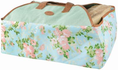 Esschert Design Jute Kaminholztasche mit Rosendruck, 59 x 40 x 39 cm, sehr robust, mit zahlreichen Außentaschen, mit Tragegurt