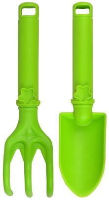 Esschert Design Kinder Gartengeräte 2er Set Gartenwerkzeug, Schaufel und Kralle aus Plastik, mit Hängeöse, in grün