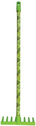 Esschert Design Kinder-Harke Camouflage aus Plastik, 20 x 7,4 x 70 cm, mit Holzstiel, mit Aufhängeöse, in grün