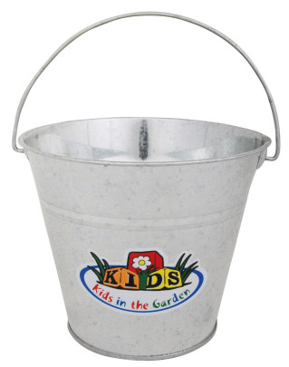 Esschert Design Kindereimer, Garteneimer für Kinder mit Henkel in grau, ca. 21 cm x 19 cm x 16 cm grau