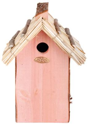Esschert Design Nistkasten, Vogelhaus Kohlmeisen mit Strohdach, ca. 19 cm x 15 cm x 32 cm Kohlmeise