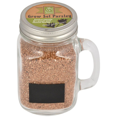 Esschert Design Pflanzset Becher Petersilie aus Glas Weißblech Vermiculit Samen, 10,7 x 7,9 x 13,5 cm
