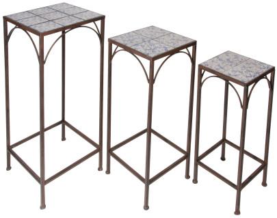 Esschert Design Pflanztisch 3er-Set aus Gusseisen mit blau-weißer Keramikoberfläche, verschiedene Größen