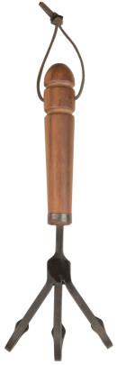 Esschert Design Schmiedeeiserne Harke mit Holzgriff, 11 x 8,1 x 30 cm, mit Hängeöse, ergonomischer Griff