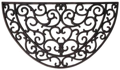 Esschert Design Schmutzfangmatte, Fußmatte in schwarz aus Gummi, halbrund, ca. 67 cm x 38 cm
