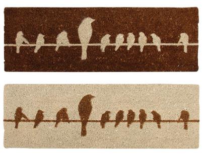 Esschert Design Schmutzfangmatte, Fußmatte mit Motiv Vögel auf Draht aus Kokos, in braun/beige,sortiert, 1 Stück, ca. 75 cm x 25 cm