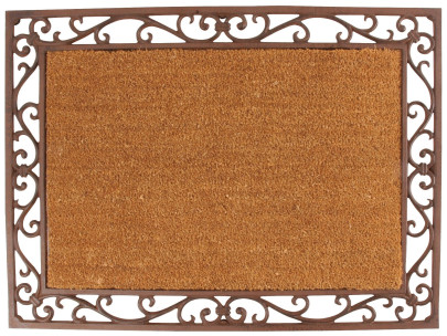 Esschert Design Schmutzfangmatte, Fußmatte, Rahmen aus Gusseisen mit Kokosmatte, ca. 75 cm x 55 cm