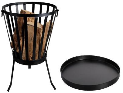 Esschert Design Set: Feuerkorb, Feuerstelle, rund, ca. 35 cm x 35 cm x 57 cm, inklusive Bodenschutzplatte Ø 50 cm