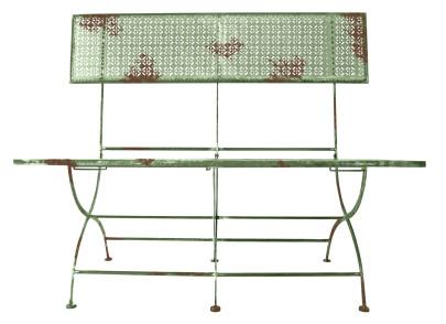 Esschert Design Sitzbank, Gartenbank mit Rückenlehne im Vintage Stil, ca. 115 cm x 53 cm x 105 cm