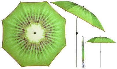 Esschert Design Sonnenschirm in Kiwi Motiv, Ø 184 x 226 cm, Stahlstiel/Kunststoffteile/Polyesterschirm