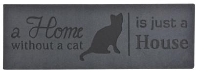 """Esschert Design Stufenfußmatte, Türmatte Motiv """"Home without cat"""", aus Gummi mit Kokoseinlage"""