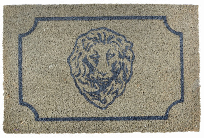 Esschert Design Türmatte Löwenkopf, aus Kokosfaser, 61,5 x 40 x 1,6 cm, edle Optik, Türvorleger, Fußabstreifer, naturfarben