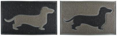 Esschert Design Türmatte mit Dackelmotiv, 74 x 44 x 1,7 cm, aus PVC, Fussabtreter, Schuhmatte, farbig sortiert