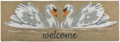 """Esschert Design Türmatte Schwan 75 x 25 x 1,8 cm, aus Kokosfaser, mit 2 Schwänen und """"Welcome"""" Schriftzug, Fuß Abstreifer"""