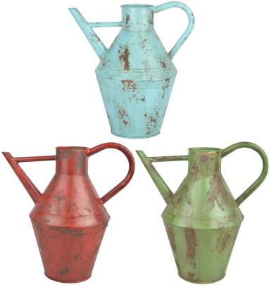 *NEU*: Gießkanne aus Stahl im Used-Look, blau/rot/grün