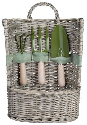 *NEU*: Pflanzkorb aus Weide, mit Geräten, grau/grün