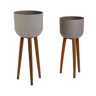 *NEU*: Pflanzschale aus Sandstein, mit Beinen, grau, 2er-Set