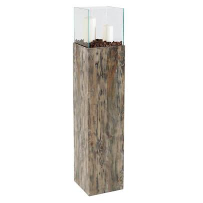 *NEU*: Bodenwindlicht aus Kiefernholz, mit Glasaufsatz