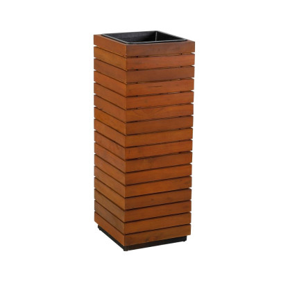 Pflanzsäule aus recyceltem Akazienholz, rotbraun