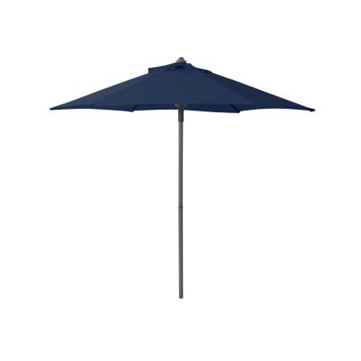 """Greemotion Sonnenschirm """"Push"""", 6 Streben, Ø 2m, H 2m, mit Entlüftung, Push-Up Mechanismus, Stahlgestell, Schirm aus Polyester, Gewicht 2,5kg, in blau"""