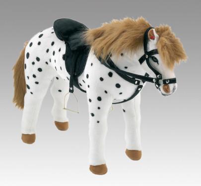 Happy People Spielzeug Pferd Apfelschimmel in weiß/schwarz, Sattel und Zaumzeug, Sattelhöhe ca. 50 cm ohne Extras