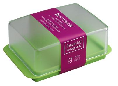homiez Butterdose, Butterbox, Butterbehälter für normales Butterstück (250g), milchig transparenter Deckel, apfelgrüner Boden Trasparent